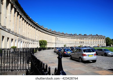 The Royal Crescent in Bath, Somerset, England, UK designed and built between 1767 and 1775 by John Wood the younger