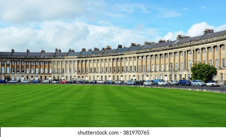 The Royal Crescent in the City of Bath in England - The Georgian Era Crescent Comprises of Luxury Town Houses and is One of the UK's Foremost Tourist Attractions
