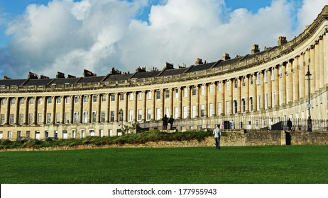The Royal Crescent Seen from Victoria Park in Bath England