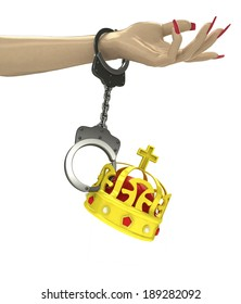 royal crown attached with chain to human hand illustration