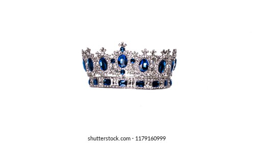 royal crown with sapphires on white background