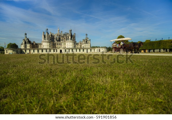 The royal Château de Chambord, French Renaissance architecture, The largest and most beautiful castle in France Chambord