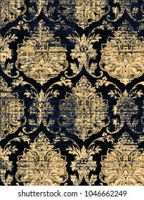 Royal designed grunge texture or background, wallpaper incredible colors  modern damask, Fine traditional ornament with oriental golden elements  Elegant template for wallpaper, textile, shawl, carpet