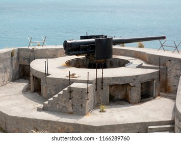 "Royal Dockyard, Bermuda - June 9, 2017: Old Cannon at the ""Keep"" near the Royal Dockyard in Bermuda on June 9, 2017 Bermuda"