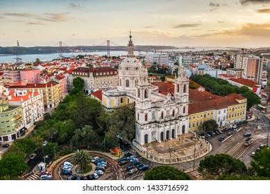 Royal estrela basilica Lapa, convent of most, cathedral basil old european church Portugal Lisbon, drone photo, air view