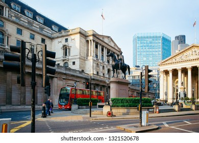Royal Exchange Stock Market Building and Bank of England architecture in financial street in London city in UK. Cityscape with square and Duke Wellington in square. View on Old town, United Kingdom