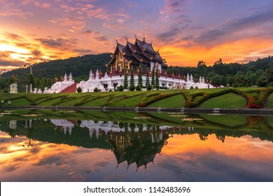 Royal Flora, Ratchaphruek Park. A large botanical garden, located at the Royal Agricultural Research Center and pavilion at sunset a tourist attraction in Chiang Mai,Thailand. September 10, 2017