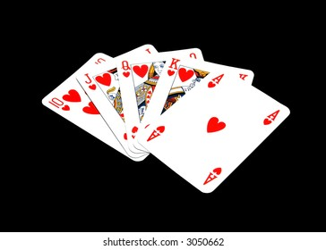 Royal flush in black background, work phat included