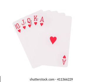 Royal flush playing cards isolated on white background. casino concept