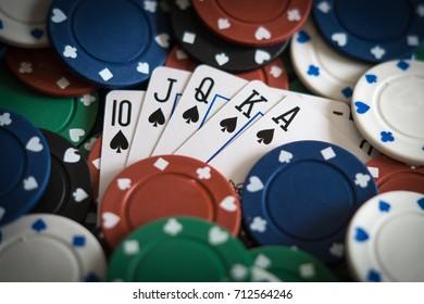 Royal flush. Poker concept.