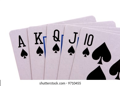 Royal flush in poker isolated on white background