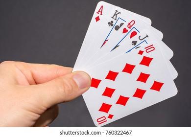 Royal flush in poker on the hand