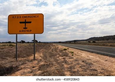 Royal Flying Doctor Service Emergency airstrip on a rural highway in Western Australia