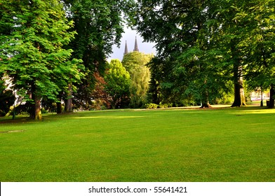 Royal Garden in Prague with two towers of St. Vitus Cathedral