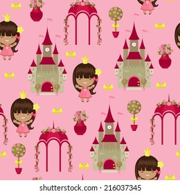 Royal garden with princess and castle seamless pattern