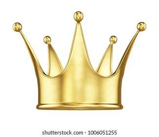 Royal gold crown isolated on white. 3d rendering.
