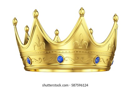 Royal gold crown with sapphires isolated on white. 3d rendering.