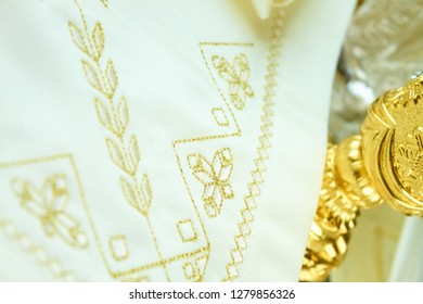 royal golden embroidery on white towel