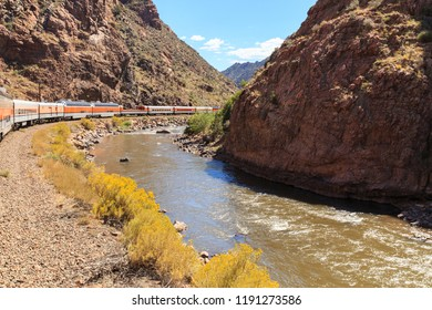 The Royal Gorge Railroad travels along side the Arkansas river in the canyon in Colorado, USA.
