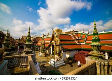 Royal grand palace Wat Phra Kaew locate at Bangkok, Asia Thailand