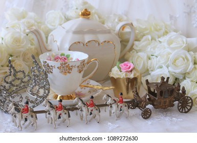 Royal High Tea Party - Wedding - Crown Tiara - Horse and Carriage with pink and white vintage tea cup saucer teapot white roses