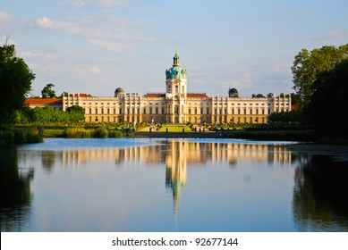 Royal Hohenzollern baroque and rococo Charlottenburg palace on the lake side with English gardens in Berlin, Germany