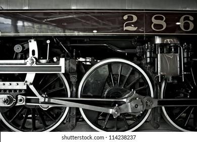 Royal Hudson Steam Locomotive Closeup - Locomotive Wheels. Railroad Transportation Photo Collection.