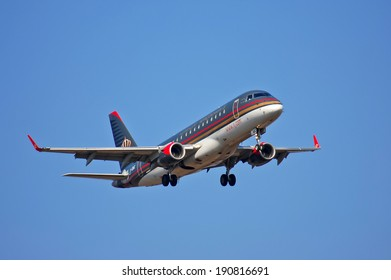 Royal Jordanian Embraer ERJ-175LR (ERJ-170-200LR) - JY-EMC landing, Ukraine, Boryspil International Airport, March, 23, 2014
