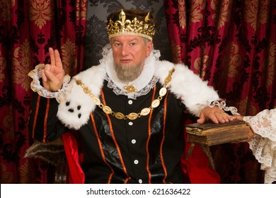 Royal king swearing a solemn oath at his inauguration