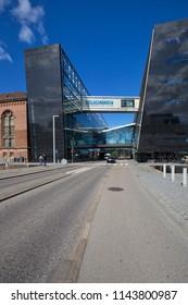 The Royal Library (Det Kongelige Bibliotek), Copenhagen, Denmark - 23 Jun 2018: It is the national library of Denmark and the university library of the University of Copenhagen.