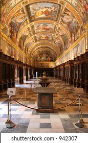 The royal library inside El Escorial, the Spanish royal palace just outside Madrid