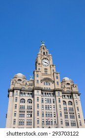 The Royal Liver Building clock tower and Liver Bird at Pier Head, Liverpool, Merseyside, England, UK, Western Europe.
