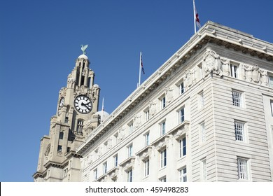 The Royal Liver Building on a sunny day, Liverpool, Merseyside, UK