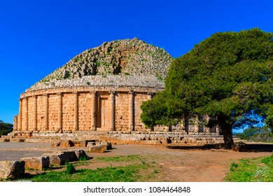 The Royal Mausoleum of Mauretania, the tomb of the Berber King Juba II and Queen Cleopatra Selene II, Tipaza Province, Algeria.