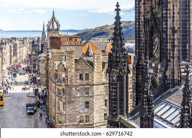 Royal mile and old center of Edinburgh in spring