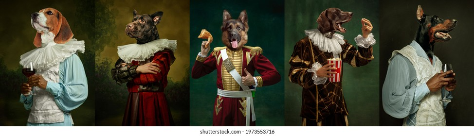 Royal. Models like medieval royalty persons in vintage clothing headed by dog's heads on dark vintage background. Concept of comparison of eras, artwork, renaissance, baroque style. Creative collage. - Shutterstock ID 1973553716