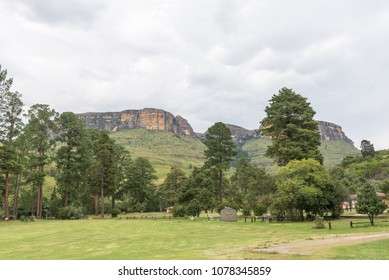 ROYAL NATAL NATIONAL PARK, SOUTH AFRICA - MARCH 14, 2018: The Mahai camp site in the Royal Natal National Park in Kwazulu-Natal. A tent and trees are visible