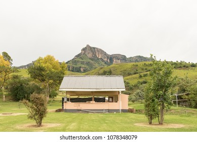 ROYAL NATAL NATIONAL PARK, SOUTH AFRICA - MARCH 14, 2018: A scullery and kitchen in the Mahai camp site in the Royal Natal National Park in Kwazulu-Natal
