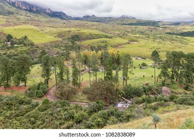 ROYAL NATAL NATIONAL PARK, SOUTH AFRICA - MARCH 17, 2018: Areal view of the Mahai Camp Site in the Kwazulu-Natal Drakensberg. The Mahai river, tents and vehicles are visible