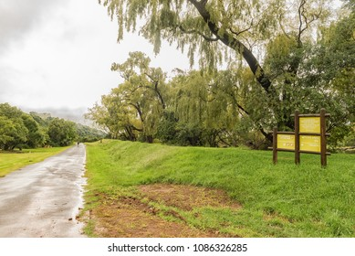 ROYAL NATAL NATIONAL PARK, SOUTH AFRICA - MARCH 18, 2018: The road to Thendele passing by trout dams and a picnic area in the Royal Natal National Park. Information boards are visible