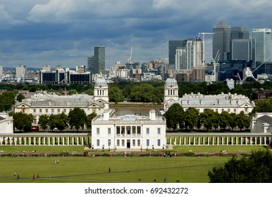 The Royal Naval college at Greenwich on the outskirts of London with the skyscrapers of Canary Wharf in the distance.