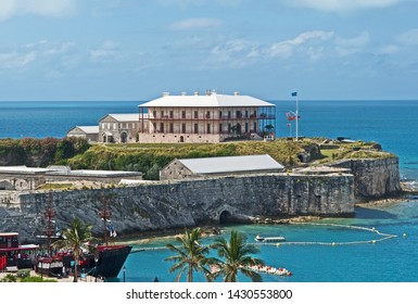 Royal Naval Dockyard, Bermuda - June 16 2019: the keep and Commissioner's House, which now house, the Bermuda Maritime Museum, at the Royal Naval Dockyard.