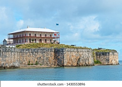 Royal Naval Dockyard, Bermuda - June 17 2019: the keep and Commissioner's House, which now house, the Bermuda Maritime Museum, at the Royal Naval Dockyard.
