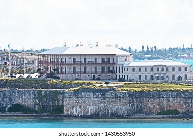 Royal Naval Dockyard, Bermuda - June 18 2019: the keep and Commissioner's House, which now house, the Bermuda Maritime Museum, at the Royal Naval Dockyard.