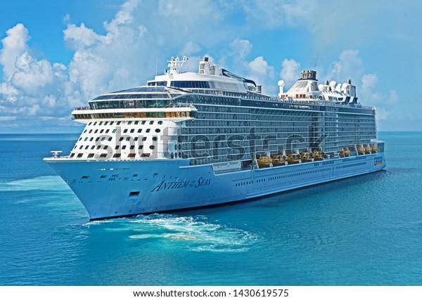 Royal Naval Dockyard, Bermuda - June 18 2019: the cruise ship Anthem of the Seas departs from Bermuda.