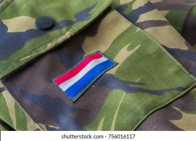Royal Netherlands Army Dutch flag shoulder flash on army green jacket