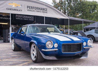 ROYAL OAK, MI/USA - AUGUST 16, 2018: A 1970 Chevrolet Camaro car at the Chevrolet Performance area, at the Woodward Dream Cruise.