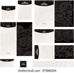 Royal paisley diamond tiara contrast black on ecru wedding invitation set1