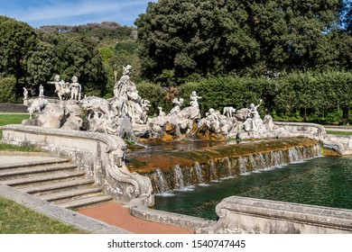 The Royal Palace of Caserta, Italy, June 2017: The Venere and Adone Fountain,  represents Venus intent on dissuading Adonis from hunting to prevent him from being killed by a boar. Reggia di Caserta.