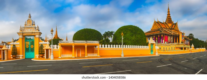 Royal palace complex in Phnom Penh, Cambodia. Tourist attraction and famous landmark. Panorama